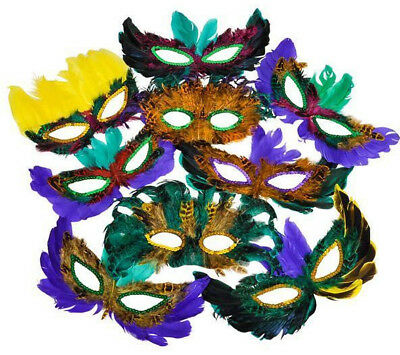10 Pieces Mardi Gras Feather Mask Masquerade Ball Wedding Party USA Seller