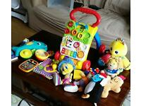 Baby walker, musical octopus, tiny touch tablet, soft toys