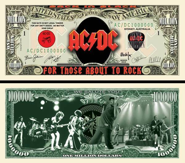 AC/DC About To Rock Million Dollar Bill Funny Money Novelty Note + FREE SLEEVE
