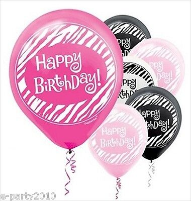 PINK AND BLACK ZEBRA STRIPE LATEX BIRTHDAY BALLOONS (15) ~ Party Supplies Helium