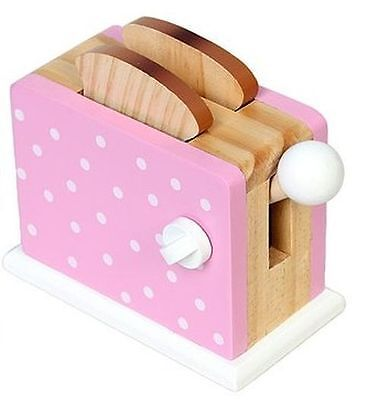 Toaster mechanisch für Kinder Holz Spieltoaster Spielküche PINK & weiße Punkte