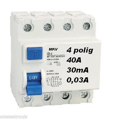 fi Schalter 4 pol. 40A 30mA  Fehlerstromschutzschalter fi schutzschalter  Typ A