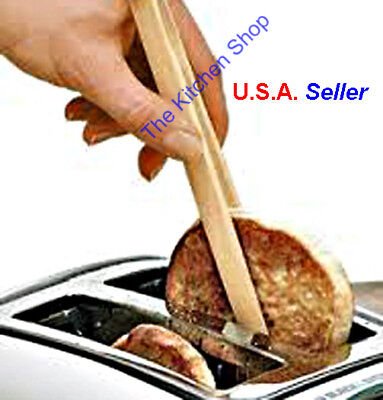 Appreciation Toaster Tongs Bamboo Safely Remove Toast Bagels Bacon (Free Shipping)
