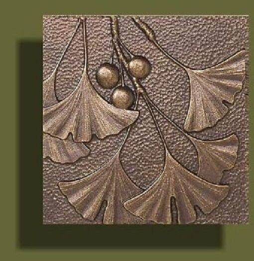 """Arts and Crafts Copper Tone Gingko Tile by Whitehall 8"""" x 8"""""""
