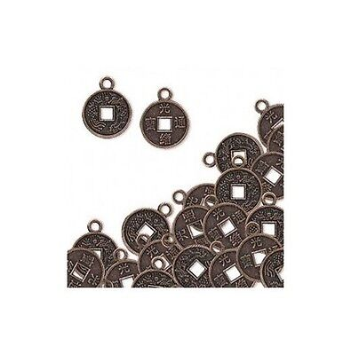 Antiqued Metal Coins Antique - 50 Antique'd COPPER Oriental COIN Charms 10mm plus loop ~ STeAmPuNk ~ Drops !