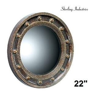 NEW STERLING PORTHOLE MIRROR PORTHOLE POLYURETHANE/BEVELED TRADITIONAL MIRROR 22-INCH SCOTTSBLUFF SILVER 103368162