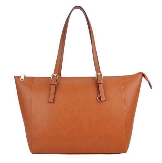 Vegan Leather Classic Large Tote Bag for Women Camel Tan