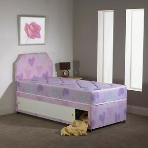 Single princess pink hearts style divan bed for girls for Single divan beds with mattress and headboard