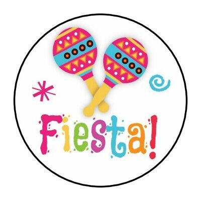 30 Fiesta Stickers party favors labels round 1.5