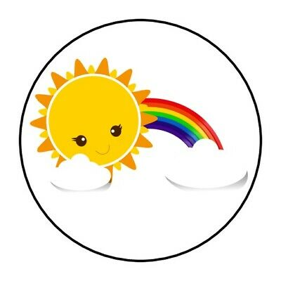 30 Rainbow and Sunshine Envelope Seals Labels Stickers 1.5