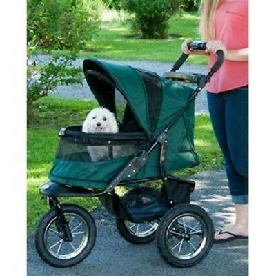 Pet Stroller 3-Wheel Jogger No Zip Dog Cat Carrier Basket Travel FOREST GREEN
