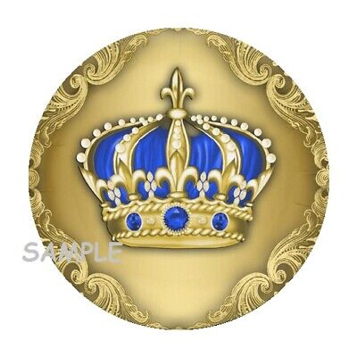 30 Gold and Blue crown stickers labels favors royal prince baby shower boy seals - Royal Baby Shower Favors