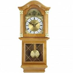 NEW*Bedford*GOLDEN OAK FINISH*26Grandfather WALL CLOCK*with PENDULUM & 4 CHIME