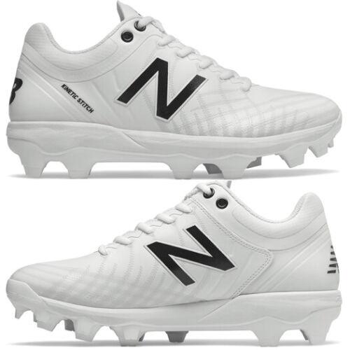 New Balance 4040v5 White Molded Baseball Cleats - Low Adult TPU PL4040W5