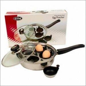 New 4 cup egg poacher pan with lid non stick saucepan fry for Decor 4 egg poacher