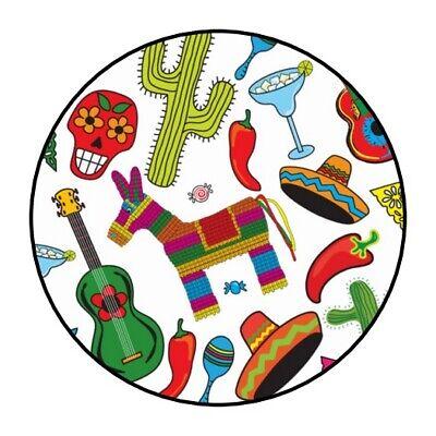 30 Fiesta party stickers favors cinco de mayo round birthday lollipop - Cinco De Mayo Party Favors