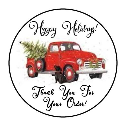 """30 1.5"""" THANK YOU ORDER HOLIDAY CHRISTMAS TRUCK FAVOR LABELS ROUND STICKERS***"""