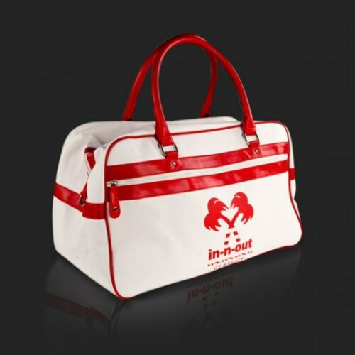 IN N OUT BURGERS RED AND WHITE RETRO DUFFLE BAG NEW