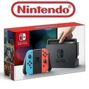 OB NINTENDO SWITCH GAME CONSOLE HAC-001 249005509 32GB VIDEO GAME SYSTEM NEON BLUE AND NEON RED JOY CON EDITION OPEN BOX