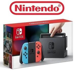 REFURB NINTENDO SWITCH GAME CONSOLE 149684576 32GB VIDEO GAME SYSTEM NEON BLUE AND NEON RED JOY-CON EDITION REFURBISHED