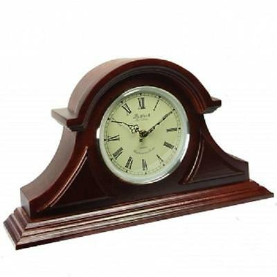 NEW*BEDFORD Redwood Oak Finish*TAMBOUR Desk Shelf Mantle MANTEL CLOCK*with CHIME