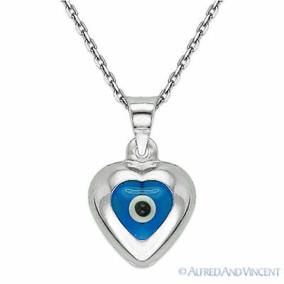 Evil Eye Bead Heart & Charm Greek Turkish Nazar Pendant Sterling Silver Necklace