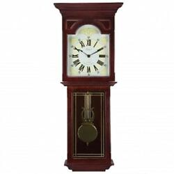 BEDFORD*Dark Redwood Oak Finish 23Grandfather WALL CLOCK*with PENDULUM & CHIMES
