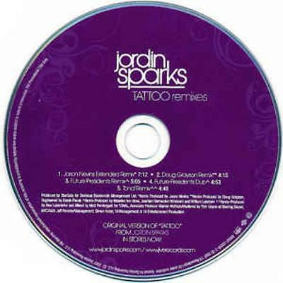 Jordin Sparks  Tattoo Remixes Promo Music Audio Cd Jason Nevins Extended Grayson