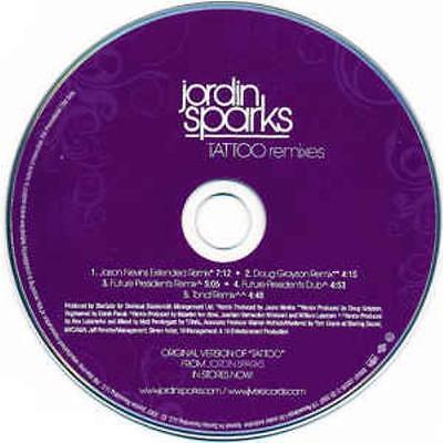 Jordin Sparks  Tattoo Remixes Promo Music Audio Cd Jason Nevins Extended Grayson