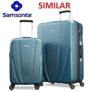 OB SAMSONITE 2PC LUGGAGE SET 255314734 TEAL POLYCARBONATE SCRATCH RESISTANT TWO SUITCASE 20 AND 28 OPEN BOX