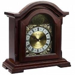 BEDFORD*Redwood Oak Finish MANTEL MANTLE Desk Shelf CLOCK*with Chime&Glass Door