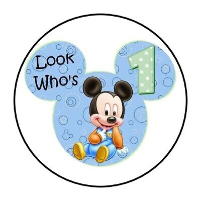 30 Baby Mickey Mouse 1st birthday party stickers labels favors first round 1.5