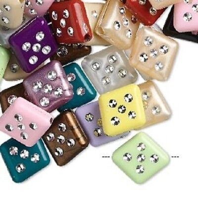 Beads Acrylic Plastic DICE Diagonal Hole~ FLAT PUFFED ~ 13x12x4mm ~ Mixed Colors (Dice Beads)