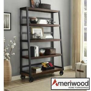NEW AMERIWOOD MOBILE BOOKCASE 9660096COM 201076711 MAHOGANY 5 SHELVES LADDER DESIGN