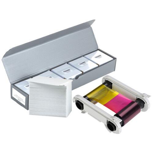 NEW Genuine Evolis R5F008AAA YMCKO Color Ribbon + 500 PVC Cards - KIT-R5F008AAA
