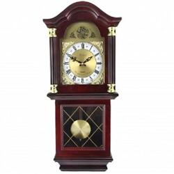 Bedford*26MAHOGANY CHERRY OAK FINISH*Grandfather WALL CLOCK*with PENDULUM&CHIME