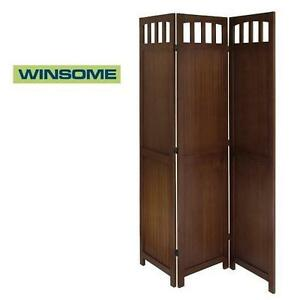 NEW* WINSOME 3-PANEL FOLD SCREEN ANTIQUE WALNUT FINISH 104942468