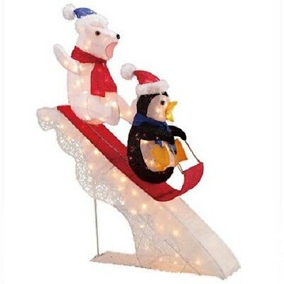 "48"" Polar Bear and Penguin Sledding Tinsel Outdoor Christmas Decoration"