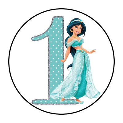 30 PRINCESS JASMINE ALADDIN BIRTHDAY Stickers Party Favor Treat Bag 1.5