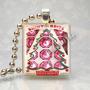 SHINY BRITE VINTAGE PINK CHRISTMAS TREE ORNAMENTS Scrabble Tile Pendant Charm