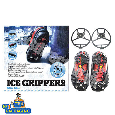 ICE SPIKES SHOE GRIPS GRIPPERS CRAMPONS FOR CONFIDENT WALKING ON ICE**LARGE