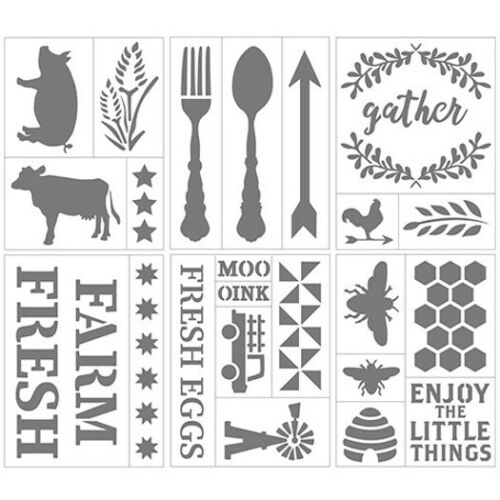 """Darice Country Living Farmhouse Themed Self-Adhesive Stencils - 6"""" x 8"""" Bee, Egg"""