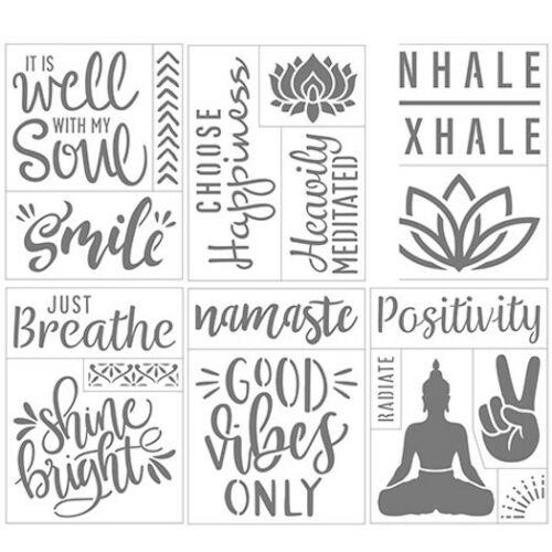 "Darice Wellness Themed Self-Adhesive Stencil- Good Vibes, Namaste, Peace 6"" x 8"""