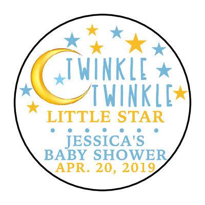 30 TWINKLE TWINKLE LITTLE STAR BOY Baby Shower Party Favor Envelope Sticker 1.5