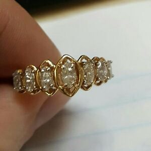 14K Gold Ring with 7 Marquise Diamonds