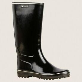 UK Size 4 Black AIGLE Rubber Boots