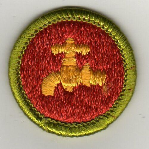 Plumbing Merit Badge, Type H, Clear Plastic Back (1972 - 2002), Mint!