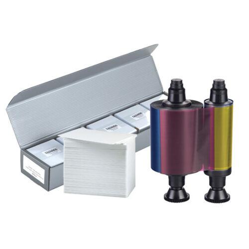 NEW Genuine Evolis R3314 YMCKO Color Ribbon + 500 PVC Cards - KIT-R3314