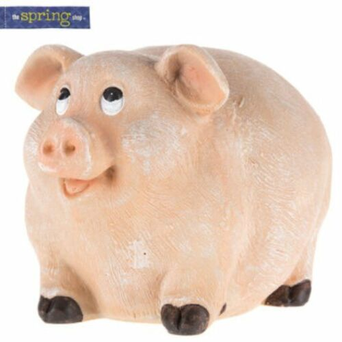 Round Pig Figurine Statue. Very Cute Indoor & Outdoor Home Decor