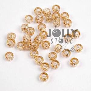 500-Gold-Sparkle-Glitter-9x6mm-Pony-Beads-for-crafts-hair-kandi-jewelry